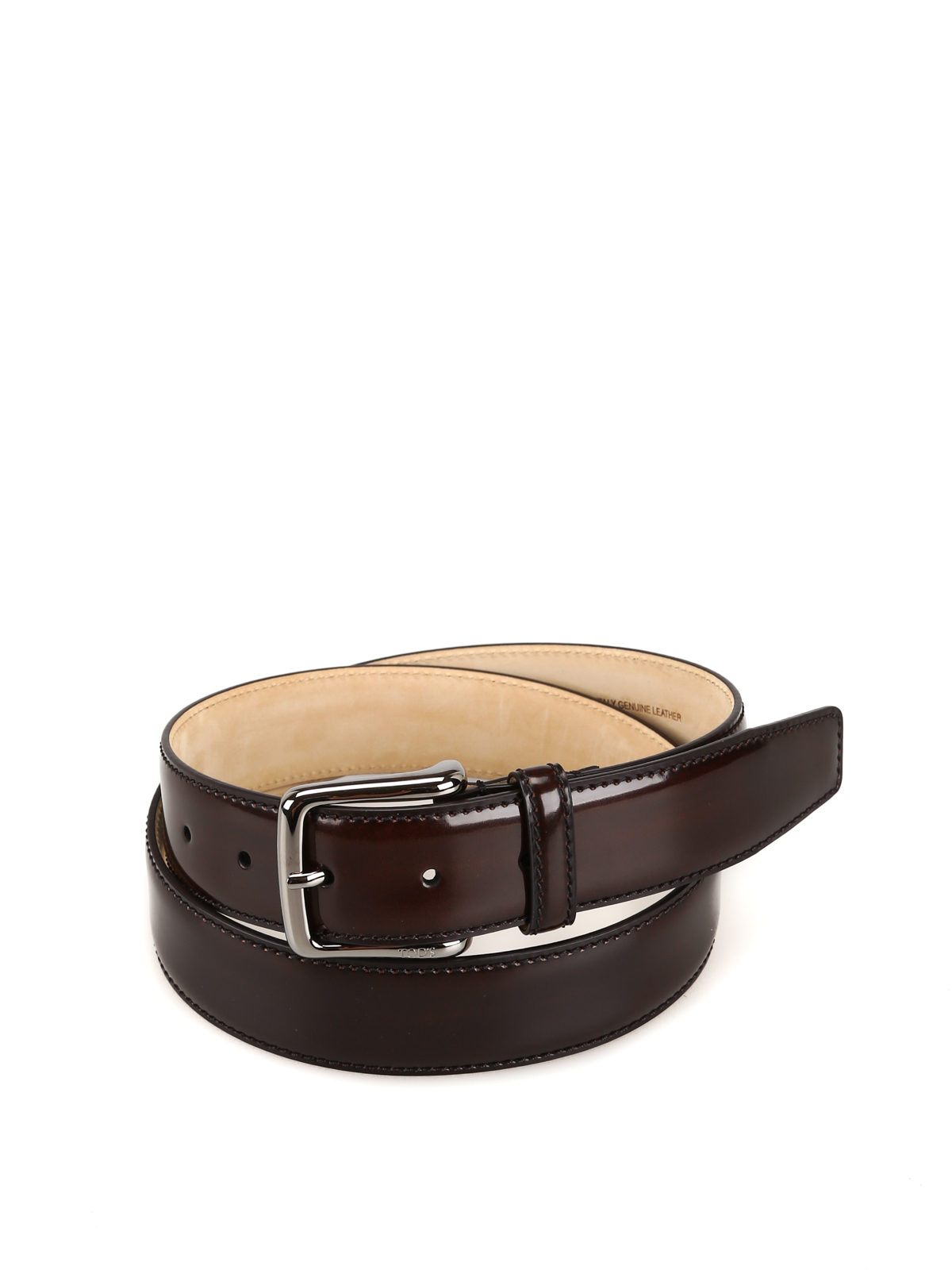 Brown smooth leather belt <br>