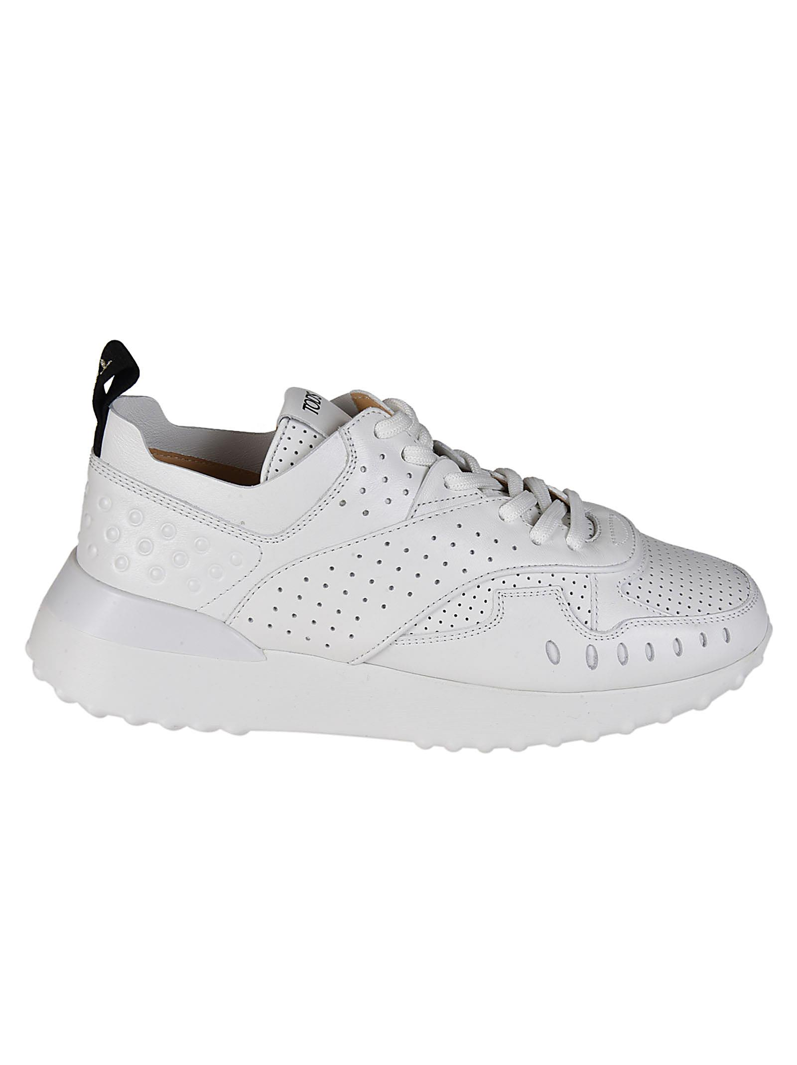White drilled leather sneakers
