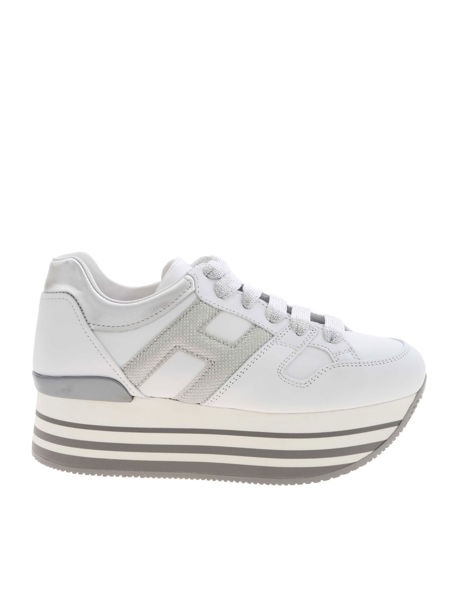H283 SNEAKERS IN WHITE AND SILVER