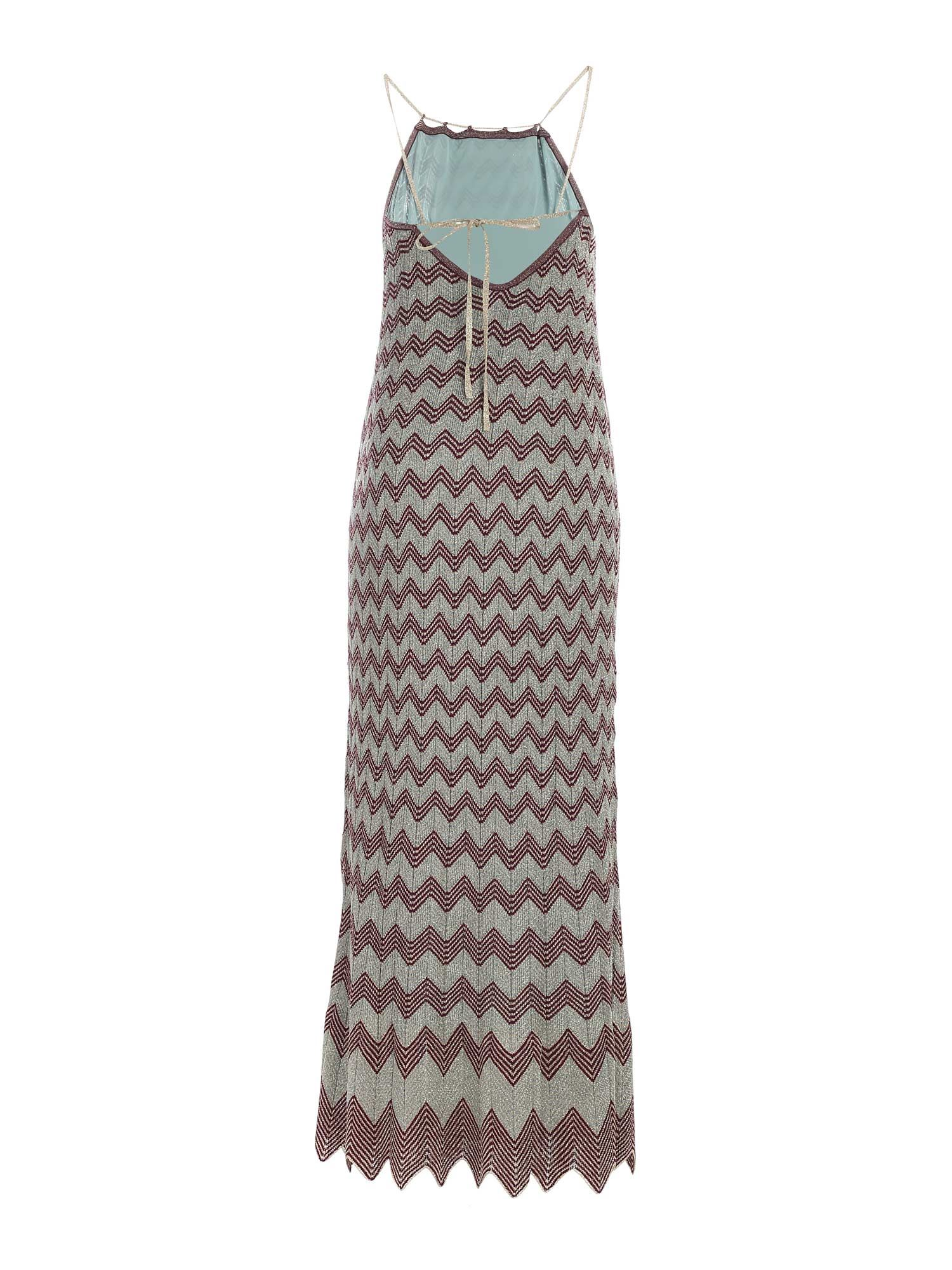 LAMÉ KNITTED DRESS IN LIGHT BLUE AND GOLD M MISSONI | 11 | 2DG005912K0094L401N
