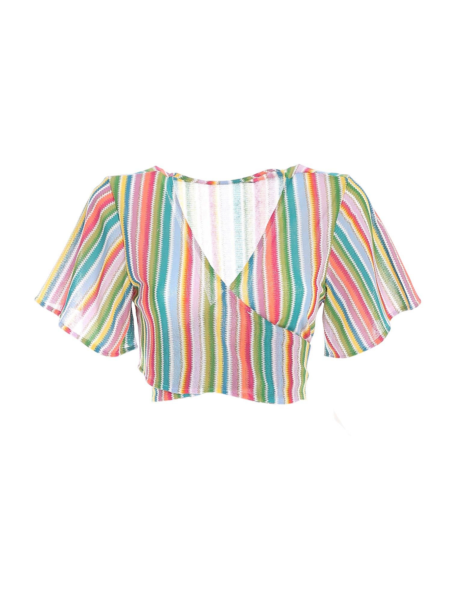ANGELINA CROPPED BLOUSE IN MULTICOLOR MC2 SAINT BARTH   10000004   ANGELINAX0045
