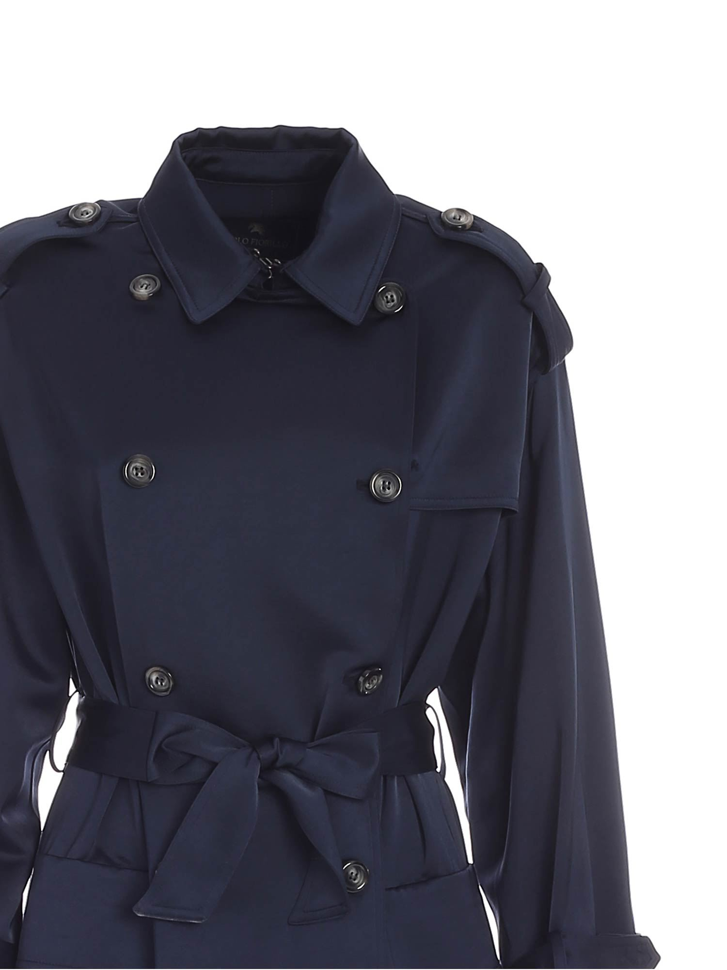 DOUBLE-BREASTED TRENCH COAT IN BLUE PAOLO FIORILLO CAPRI | 10000015 | 29503004889