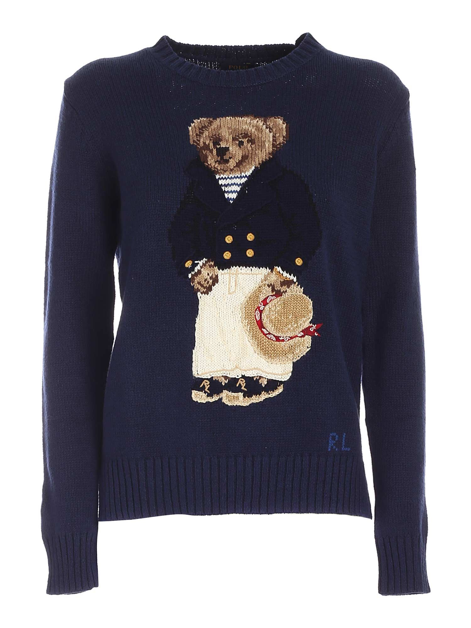 BEAR INLAY SWEATER IN BLUE POLO RALPH LAUREN | -1384759495 | 211827666001