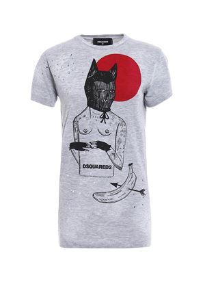 T-shirt con stampa e fori DSQUARED2 | 8 | S72GD0009S22146857M