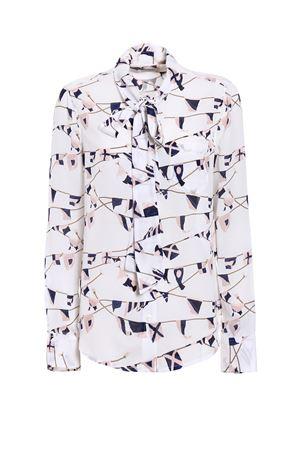 Brett tie neck silk crepe shirt EQUIPMENT | 6 | Q2909E271BRIGHTWHTMULTI