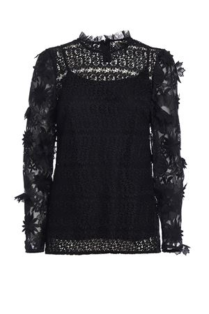 See-through lace black blouse MICHAEL DI MICHAEL KORS | 10000004 | MF74LA779R001