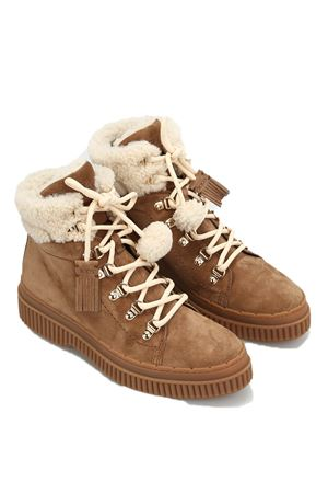 Beige suede and shearling booties TOD