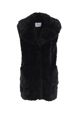 Black faux fur sleeveless short coat DONDUP | 38 | DJ138PL0197XXXPDD999