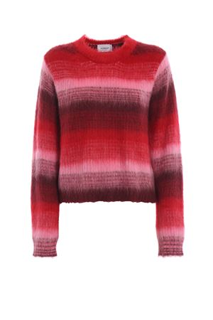 Fading red striped mohair blend crop sweater DONDUP | 20000006 | DM230M00605GRZPDD148B