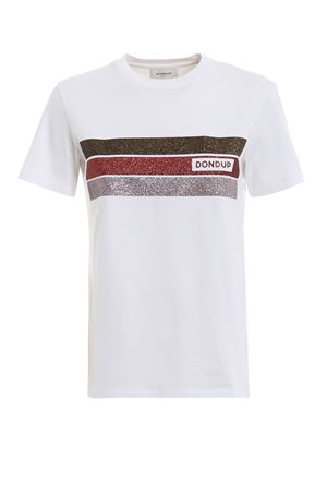 White T-shirt with glittered bands DONDUP | 8 | S746JS0205CI94MD000