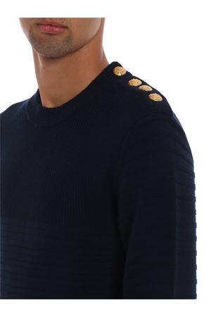 Golden buttons striped pattern wool crewneck DONDUP | 20000006 | UM882M00578XXXDU897