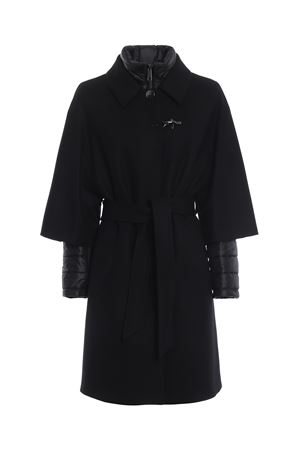 Two in one black double front belted coat FAY | 17 | NAW53373440PWGB999