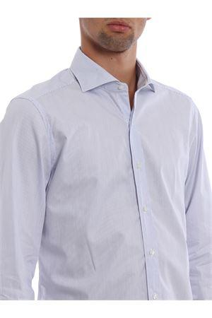 Light blue stripe cotton poplin shirt