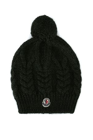 Dark green cable knit alpaca blend beanie MONCLER | 26 | 002470009918825