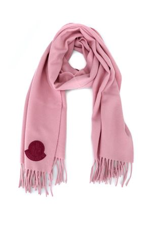 Pink wool cloth scarf with velvet logo patch MONCLER | 77 | 00436000436S51C