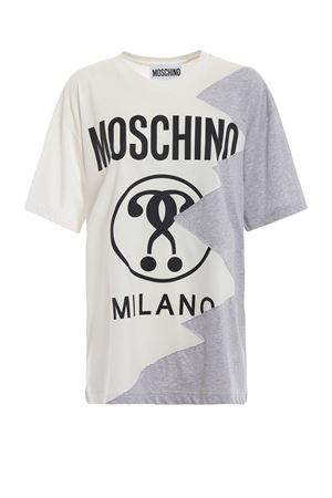 Patchwork effect white t-shirt MOSCHINO | 8 | 07095440A7002