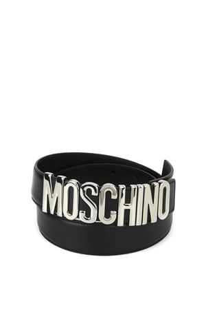 Silver logo buckle leather belt MOSCHINO | 22 | 80078001A3555