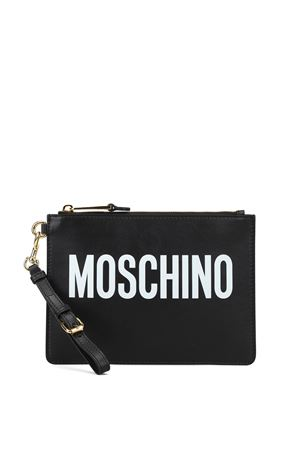 Rhinestone logo leather clutch MOSCHINO | 10000014 | 84158001A1555