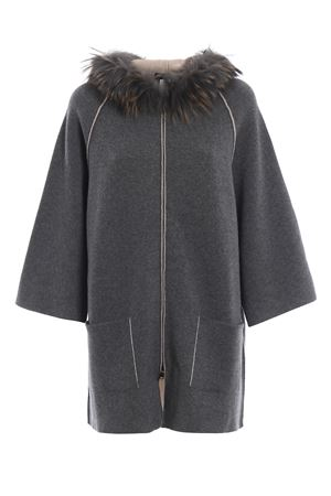 Fur detail hooded cardigan PAOLO FIORILLO CAPRI | 52 | 65259732