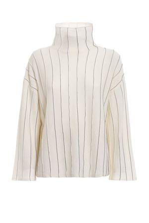 Pinstriped merino wool boxy off white sweater PAOLO FIORILLO CAPRI | 10000016 | 65290510