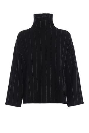 Pinstriped merino wool boxy black sweater PAOLO FIORILLO CAPRI | 10000016 | 65290513