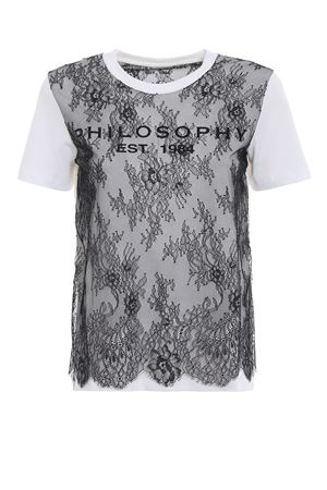 T-shirt bianca con pizzo trasparente PHILOSOPHY di LORENZO SERAFINI | 8 | 07055745A0002