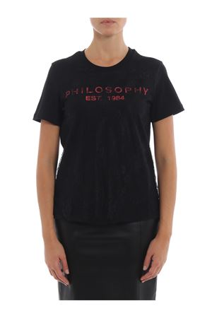 See-through lace embellished black Tee PHILOSOPHY di LORENZO SERAFINI | 8 | 07055745A0555