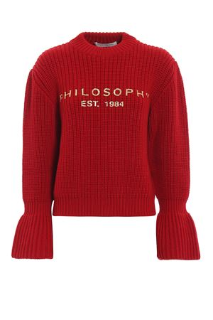 Gold-tone logo print red wool sweater PHILOSOPHY di LORENZO SERAFINI | 1 | 09145707A2112