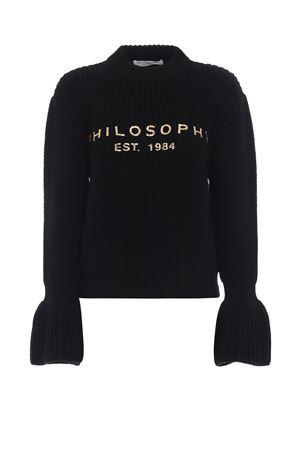 Girocollo con logo dorato in lana a coste PHILOSOPHY di LORENZO SERAFINI | 1 | 09145707A2555
