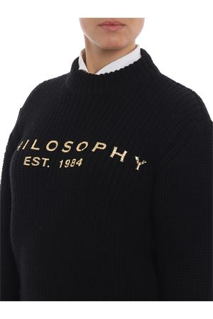 Gold-tone logo print black wool sweater PHILOSOPHY di LORENZO SERAFINI | 1 | 09145707A2555