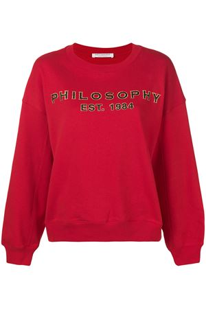 Grey sweatshirt with glitter logo print PHILOSOPHY di LORENZO SERAFINI | -108764232 | 17035747A0128