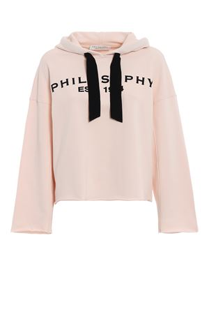 Velvet detailed powder pink boxy hoodie PHILOSOPHY di LORENZO SERAFINI | -108764232 | 17065747A0170