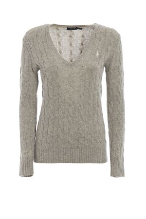 Cable knit merino and cashmere V-neck sweater POLO RALPH LAUREN | 1 | 211508656043