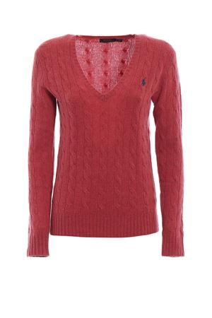 Cable knit merino and cashmere V-neck sweater POLO RALPH LAUREN | 1 | 211508656056