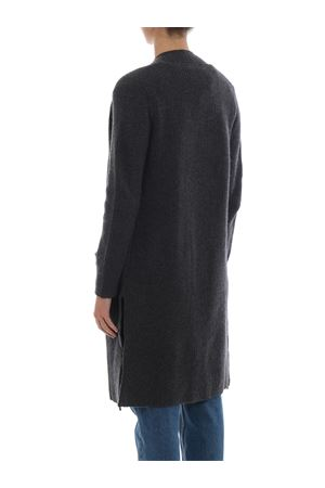 Grey merino and cashmere open front cardigan