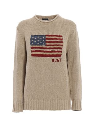 American flag intarsia linen cotton sweater POLO RALPH LAUREN | 1 | 211704919001