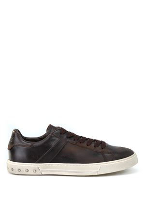 Used effect leather low top sneakers TOD