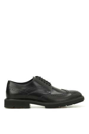 Glossy leather brogued lace-ups TOD