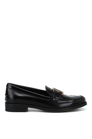 Double T oval horsebit black loafers TOD