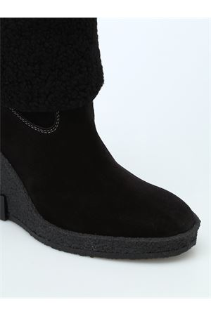 Black suede crepe rubber wedge ankle boots TOD