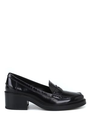 Thick heel black brushed leather loafers TOD