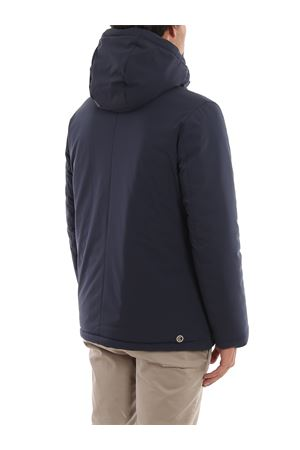 Tech fabric hooded puffer jacket