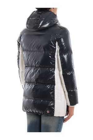 Contrasting bands hooded padded coat