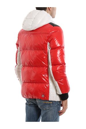 Glossy nylon hooded puffer jacket