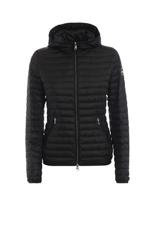 Black hooded quilted puffer jacket