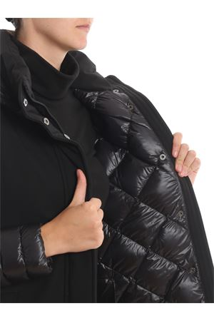 Tech fabric padded coat with puffer hood