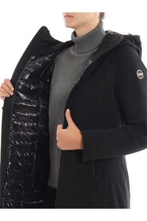 Tech fabric fitted padded coat