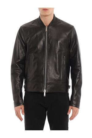Leather jacket with straps