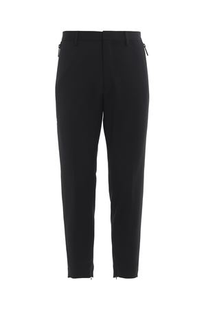 Rubber logo wool blend trousers