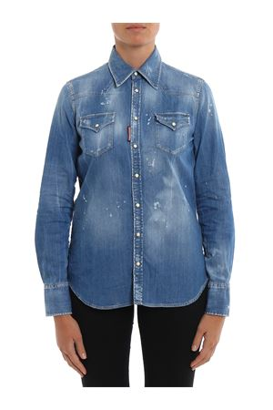 Délavé used effect denim shirt